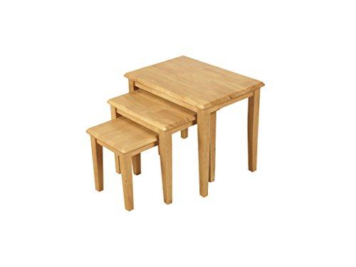 Essentials Hard Wood Nest Of Tables Set Of 3 Finish Light Oak Living Room Furniture Oak